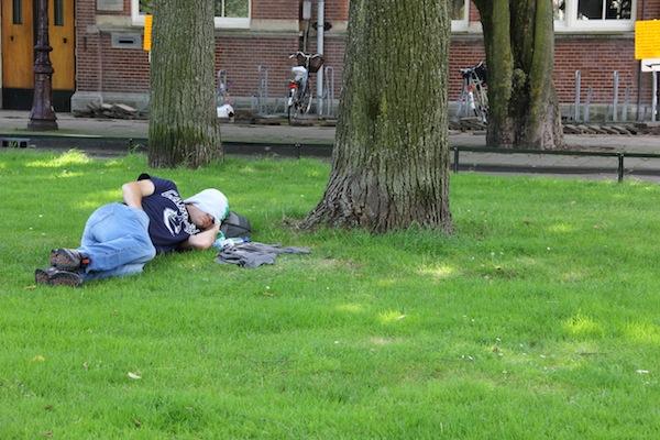 Man sleeps in Amsterdam park
