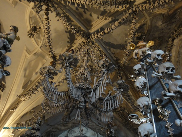 A chandelier made from human remains in a bone church near Prague