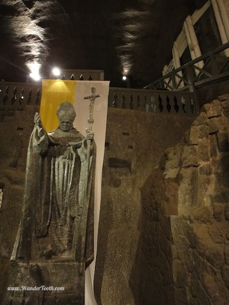 pope statue made of salt in the wieliczka salt cathedral