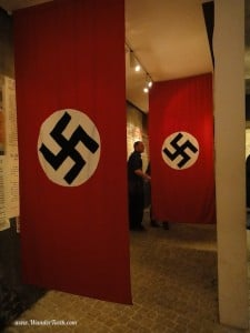 """Nazi flags on display at the Schindler Factory"""