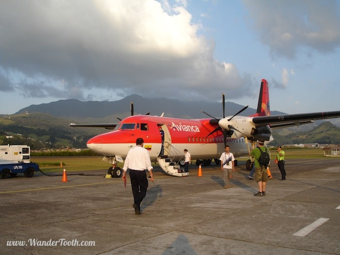 """Fokker 50 airplane in the tropics"""