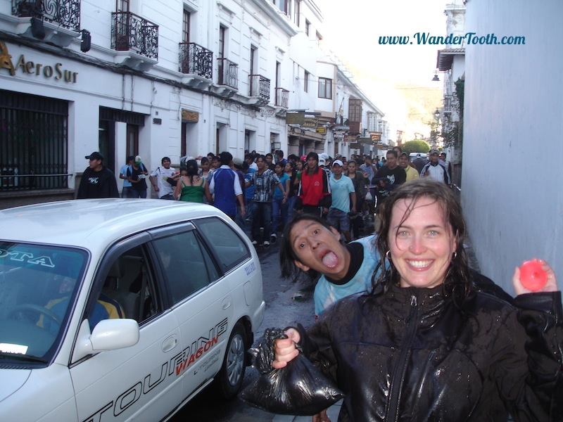 This is me during carnival in Bolivia. My passport and cash is safely tucked away in a zippered pocket underneath my outer softshell jacket!