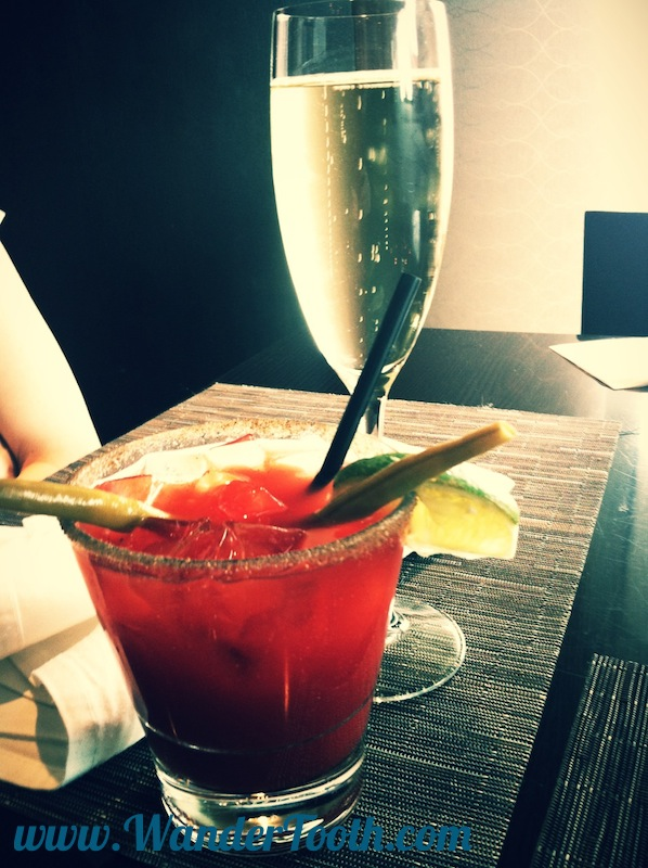 Champagne and a Caesar: it's what's for breakfast...