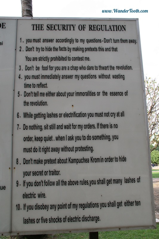 Rules for the prisoners at S21 Phnom Penh, Cambodia