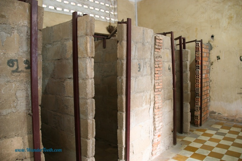 Row of cells at S21 prison in Phnom Penh, Cambodia.