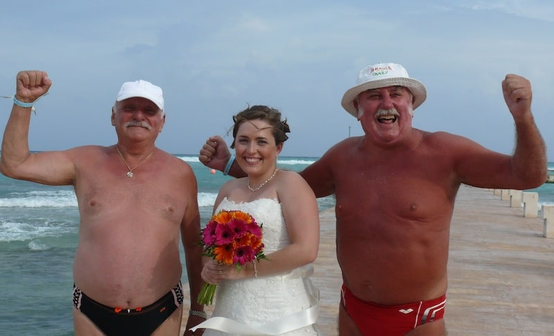 Getting married in Mexico allowed me to fulfill my lifelong dream of being flanked by two mysterious European men in speedos.