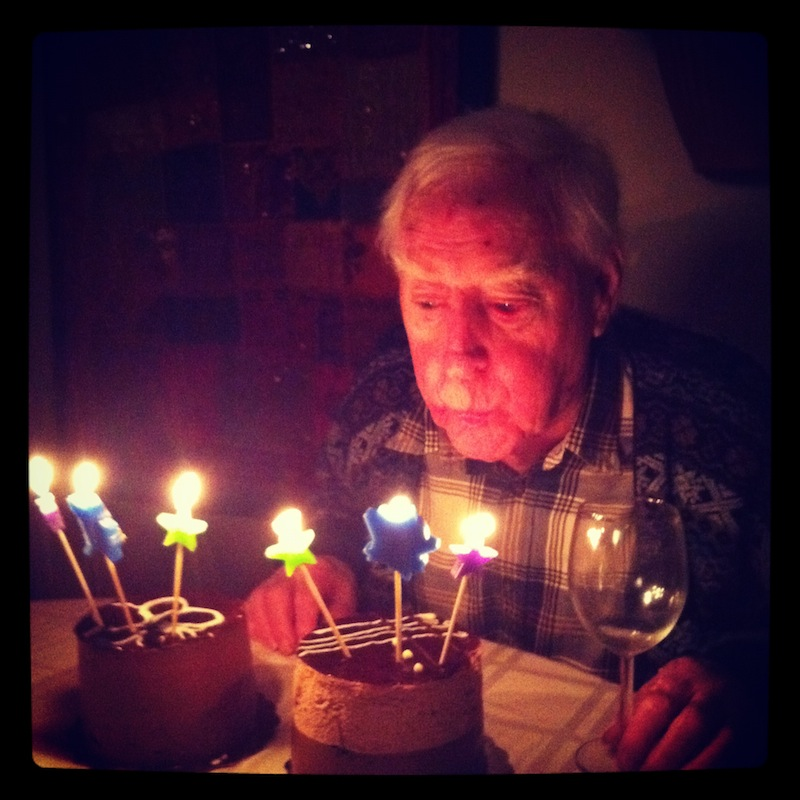 My grandpa, with his 90th birthday cake