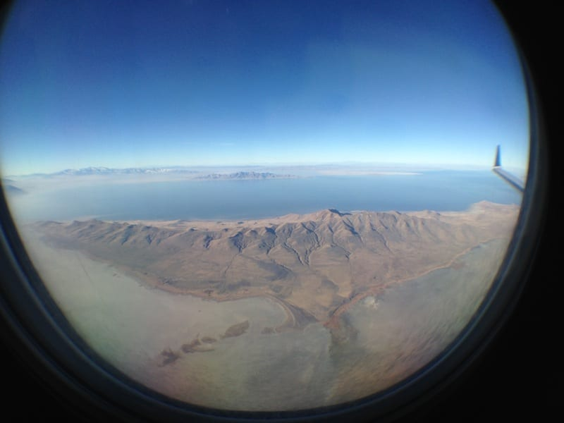 View of Great Salt Lake from an airplane