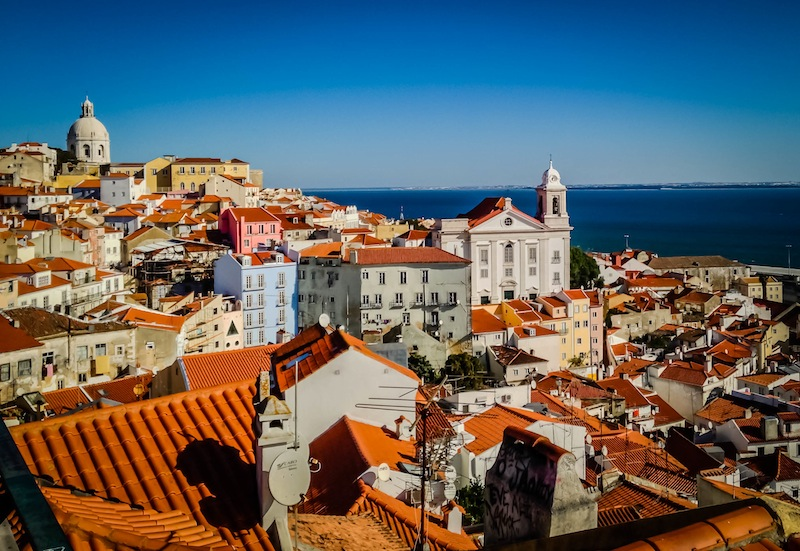 View of buildings in Lisbon Portugal