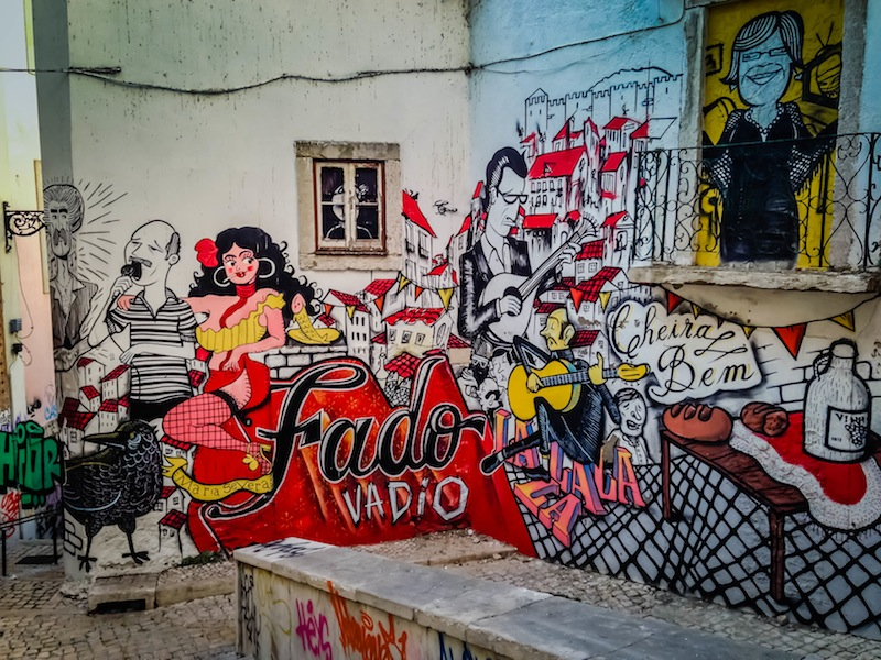 Graffiti in Lisbon Portugal about Fado Music