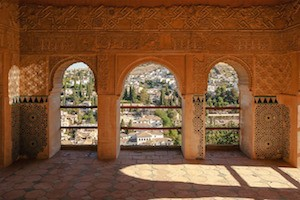 Nasrid Palace Alhambra View over Granada