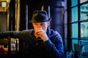 Geoff samples one of the beers in Edinburgh