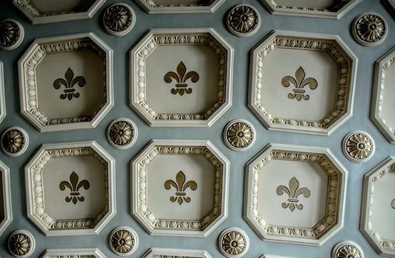 fleur de lis on a gilded ceiling Romanian Athenaeum bucharest