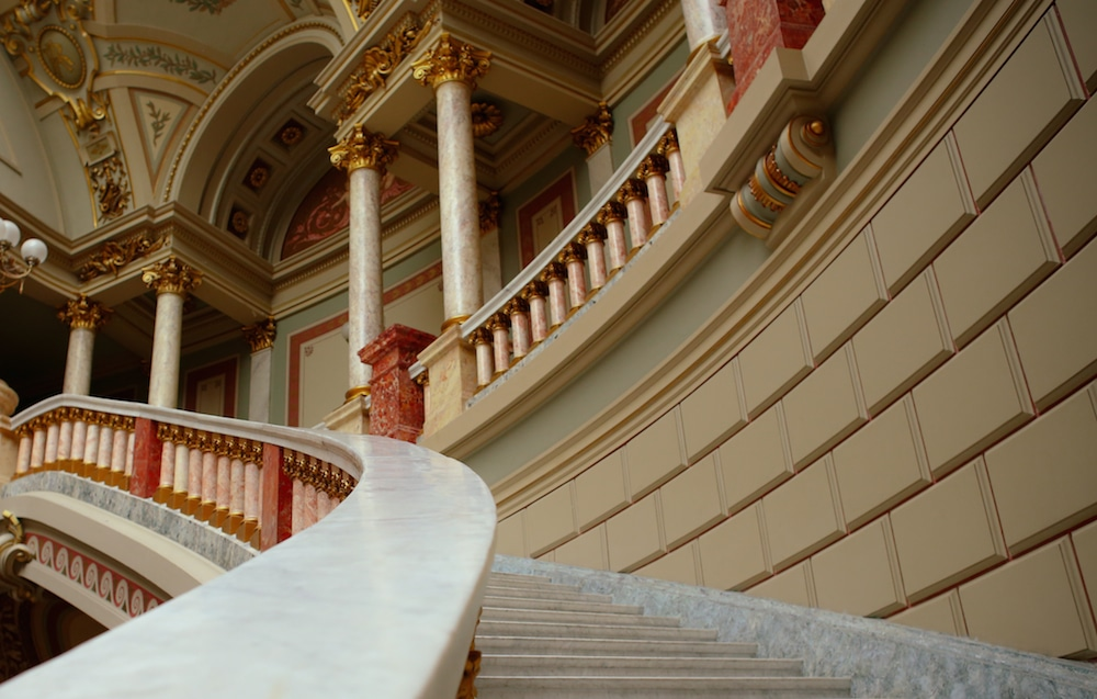 neoclassical staircase Romanian Athenaeum Bucharest