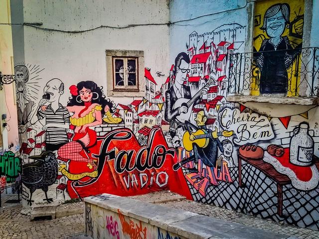 Fado graffiti in the Alfama district of Lisbon.