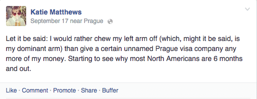 The Czech visa process is enough to drive a lady crazy...