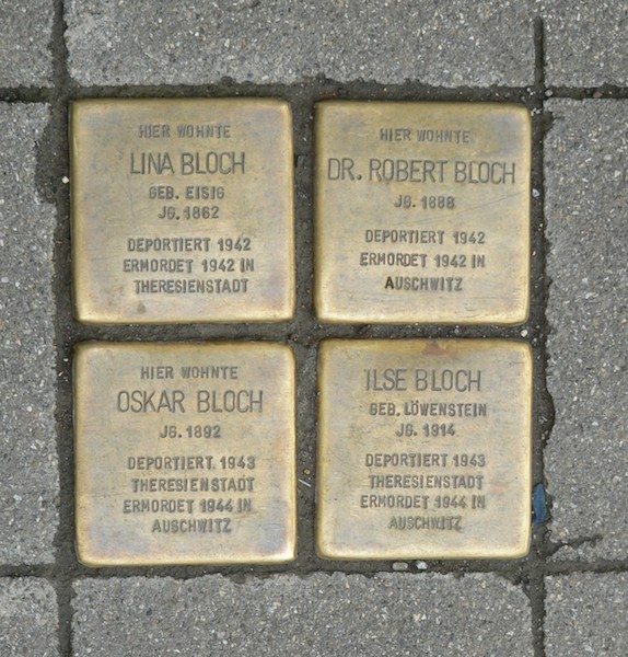 The Bloch family, separated, all murdered in concentration camps, placed in front of their former home in Stuttgart, Germany. -- photo credit JuergenG via Wikipedia cc