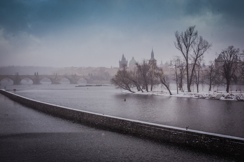 Prague in the snow