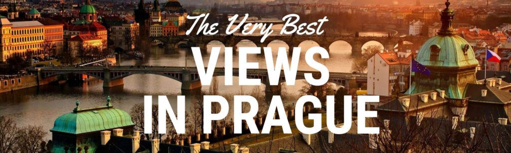 "Header Image for an article about the Best Views in Prague. The foreground has text that says ""the very best views in Prague"" and the background shows a view of Prague's bridges and the river at dusk"