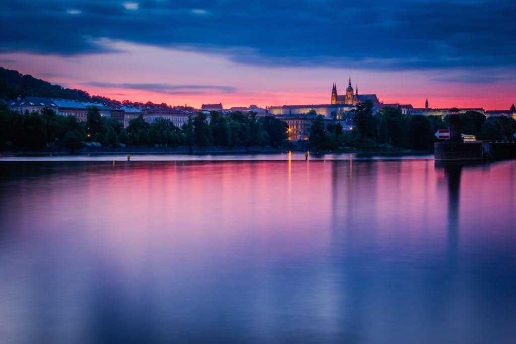best view of Prague castle at sunset