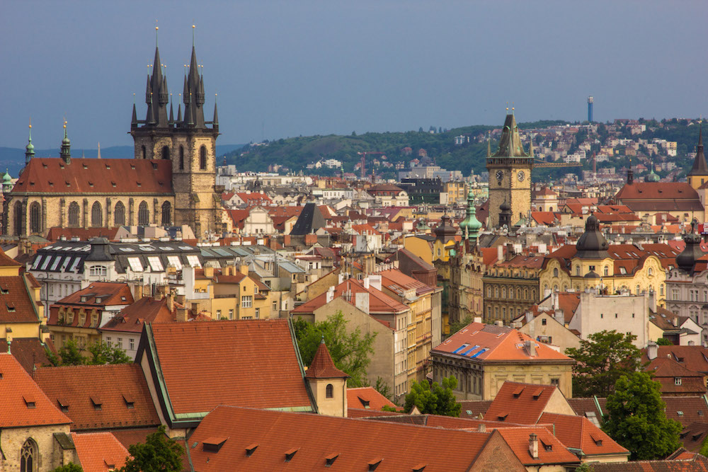 View of Prague Old Town from Letna Park Beer Garden