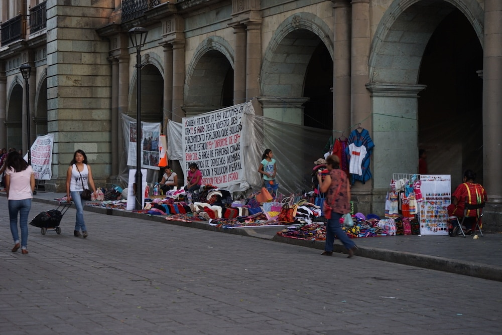 protesters in the zocalo oaxaca mexico