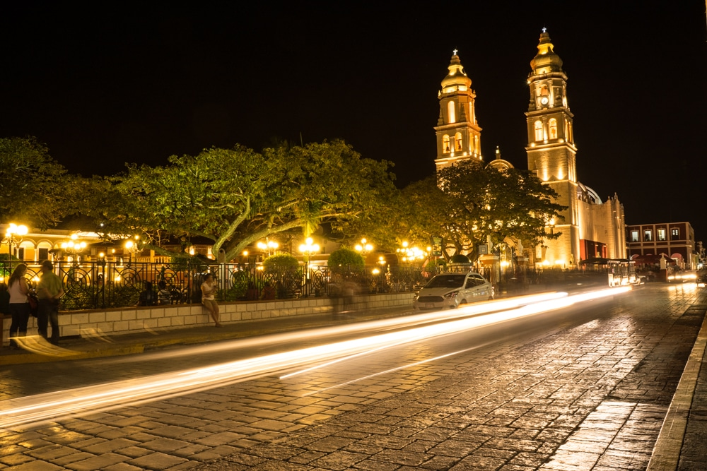 Parque Principal Campeche Mexico Night