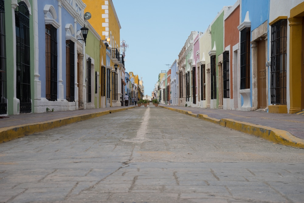 pastel buildings campeche mexico