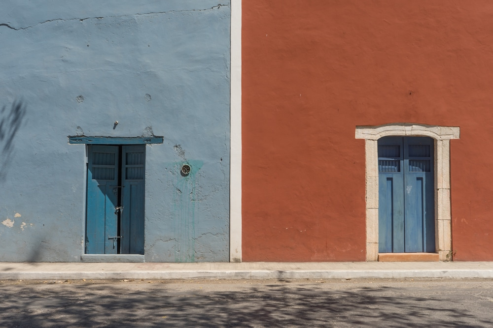 Colorful doors and buildings Mexico