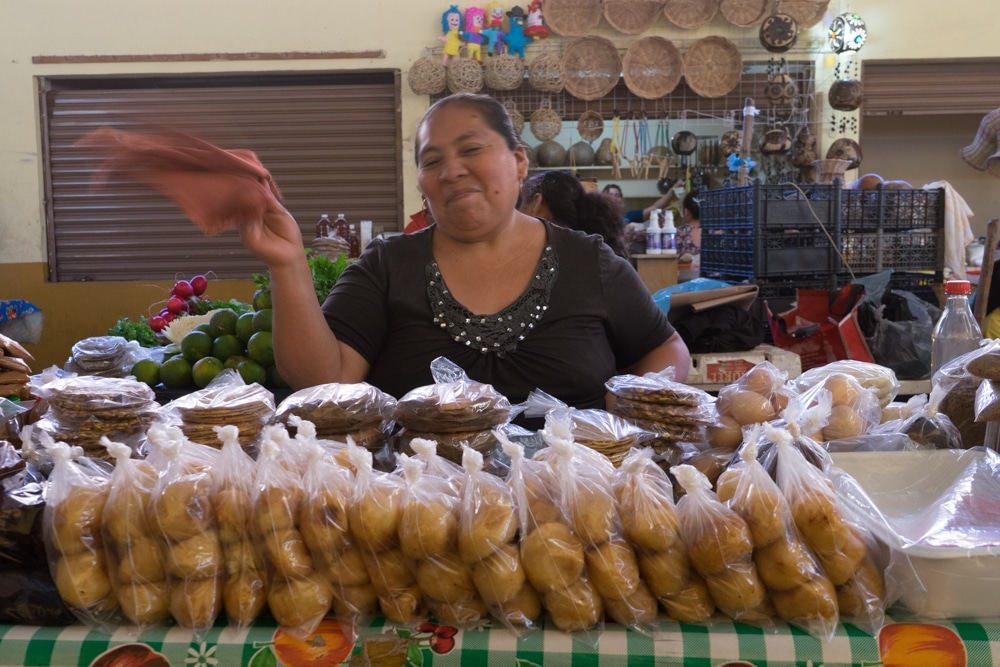 A vendor at the market in Valladolid Mexico