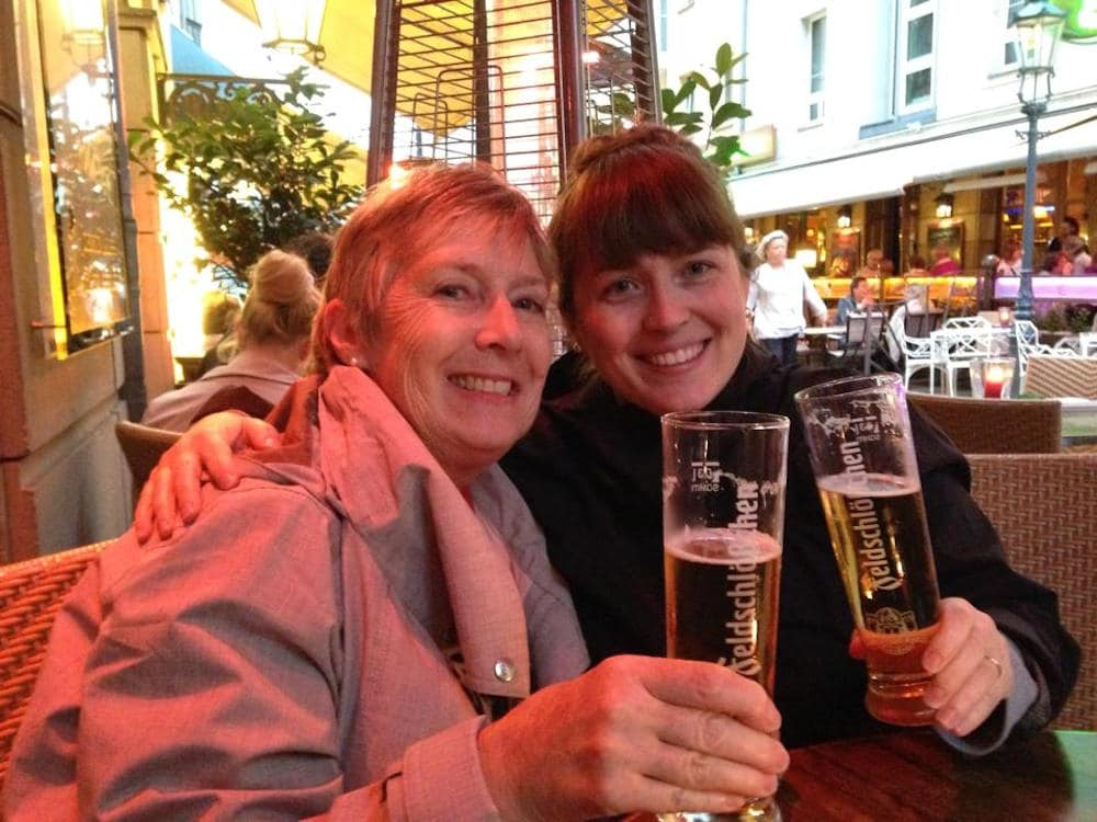 Me and my mom, enjoying a beer in Dresden, Germany
