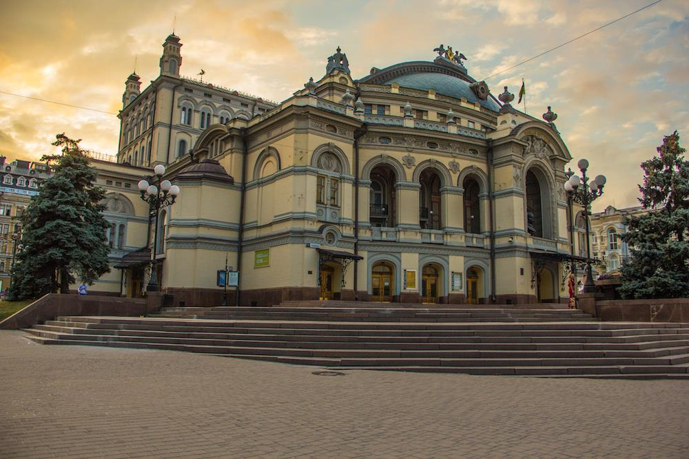 Kiev Opera House Building at Dusk