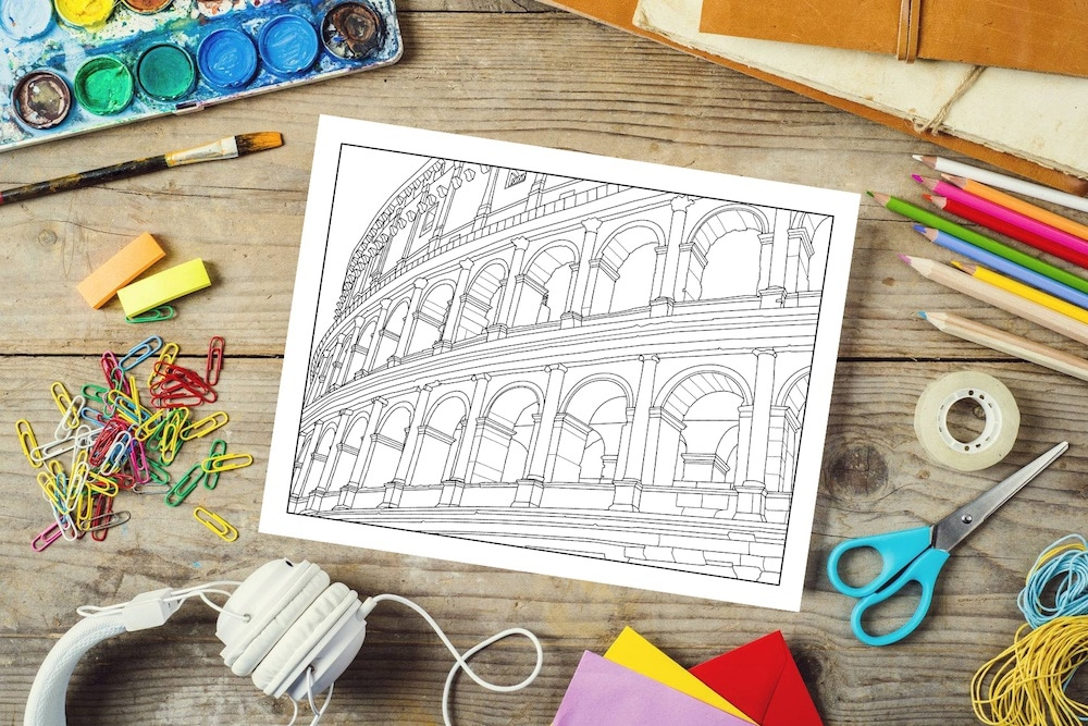 Rome Coloring Book Colloseum