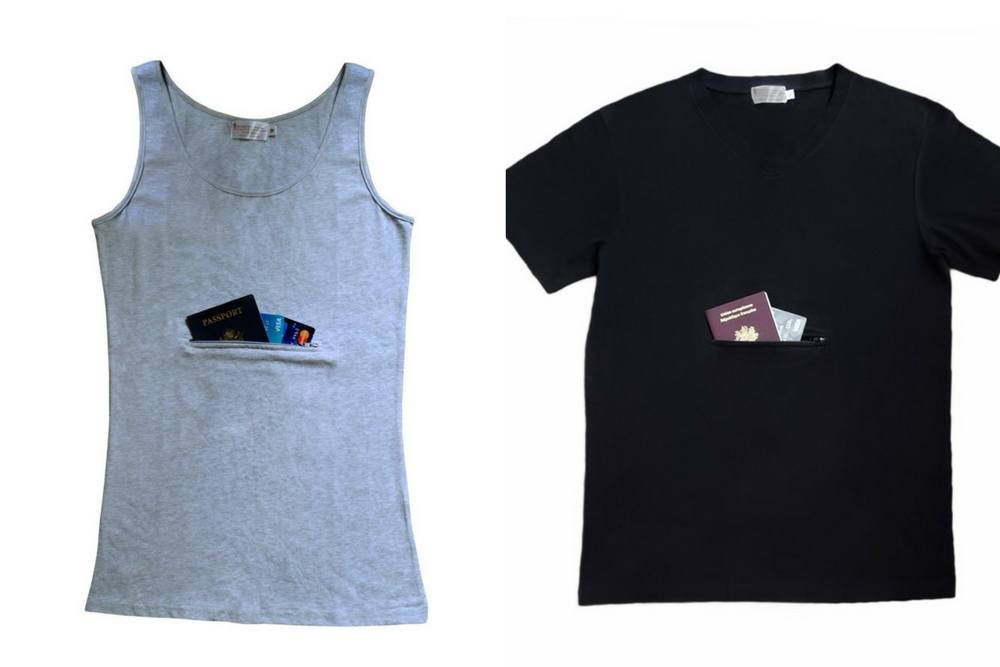 A Clever Travel Companion tank and t-shirt with zippered pockets for layering.