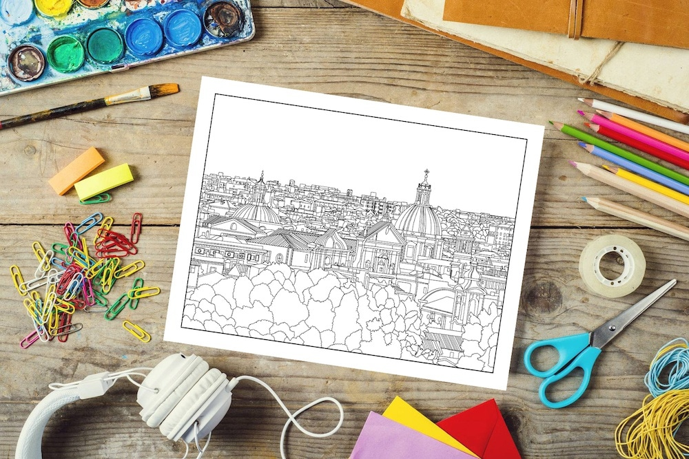 Rome Coloring Book Rome Skyline