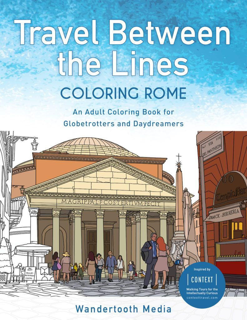 Travel Between the Lines Coloring Rome Adult Coloring Book Cover