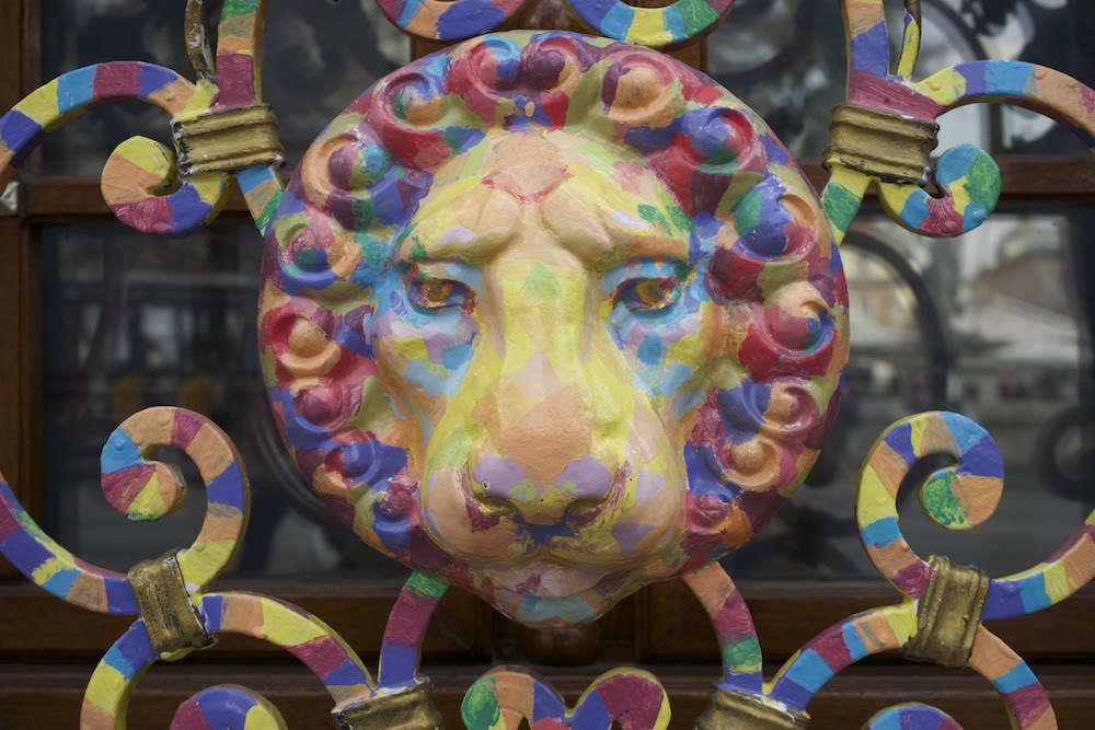 Rainbow lion in lviv city guide