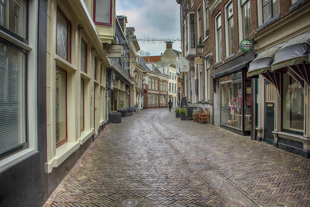 Cobblestone street in Leeuwarden Friesland Netherlands