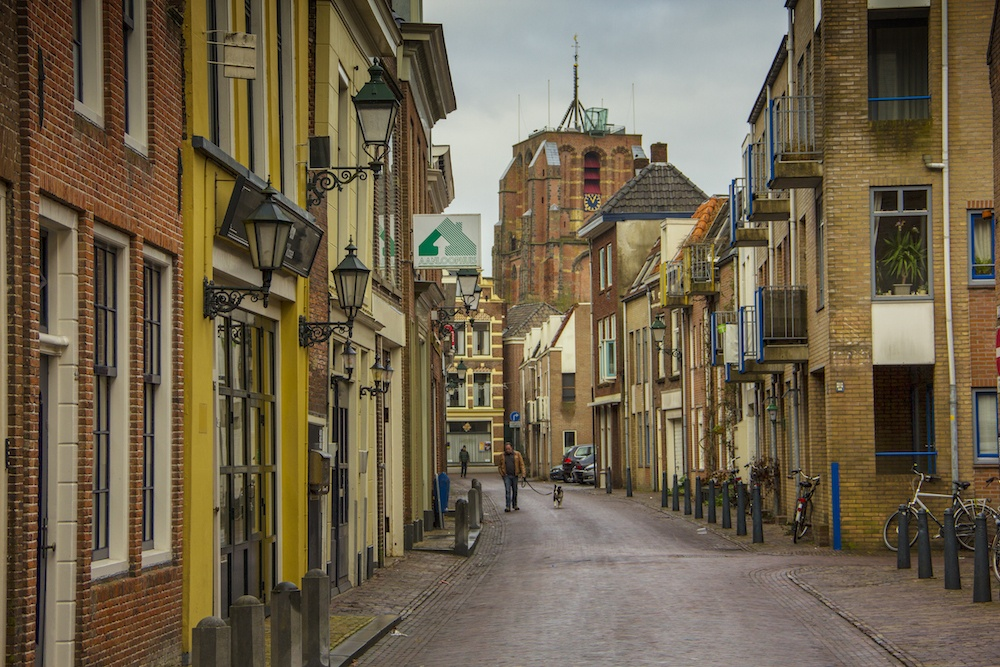 A typical street in Leeuwarden Friesland Netherlands