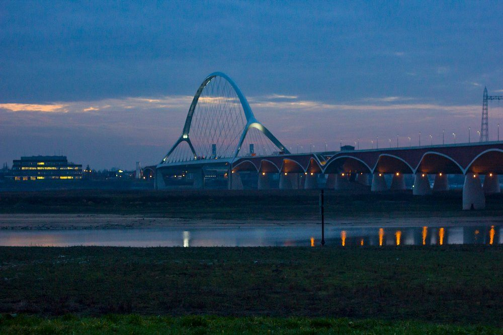 Sunset March Nijmegen Netherlands De Oversteek Bridge