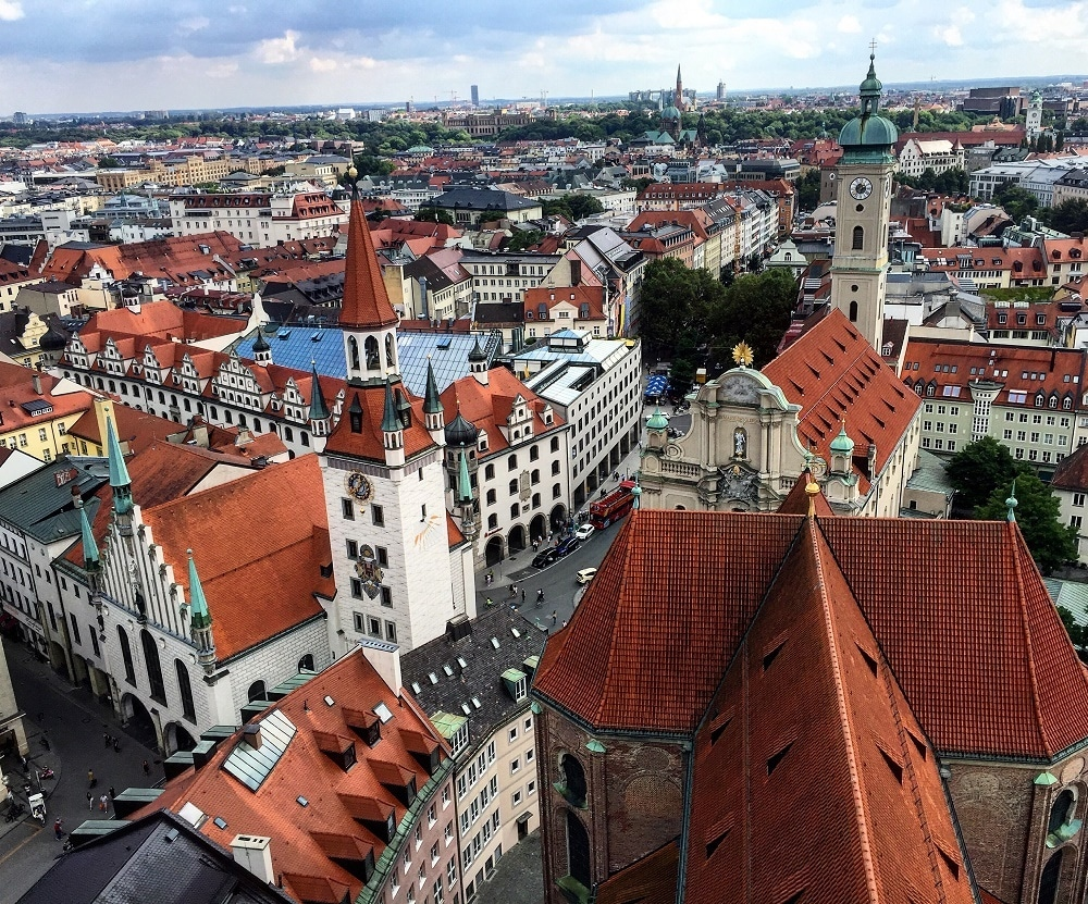 Birds eye view of Munich