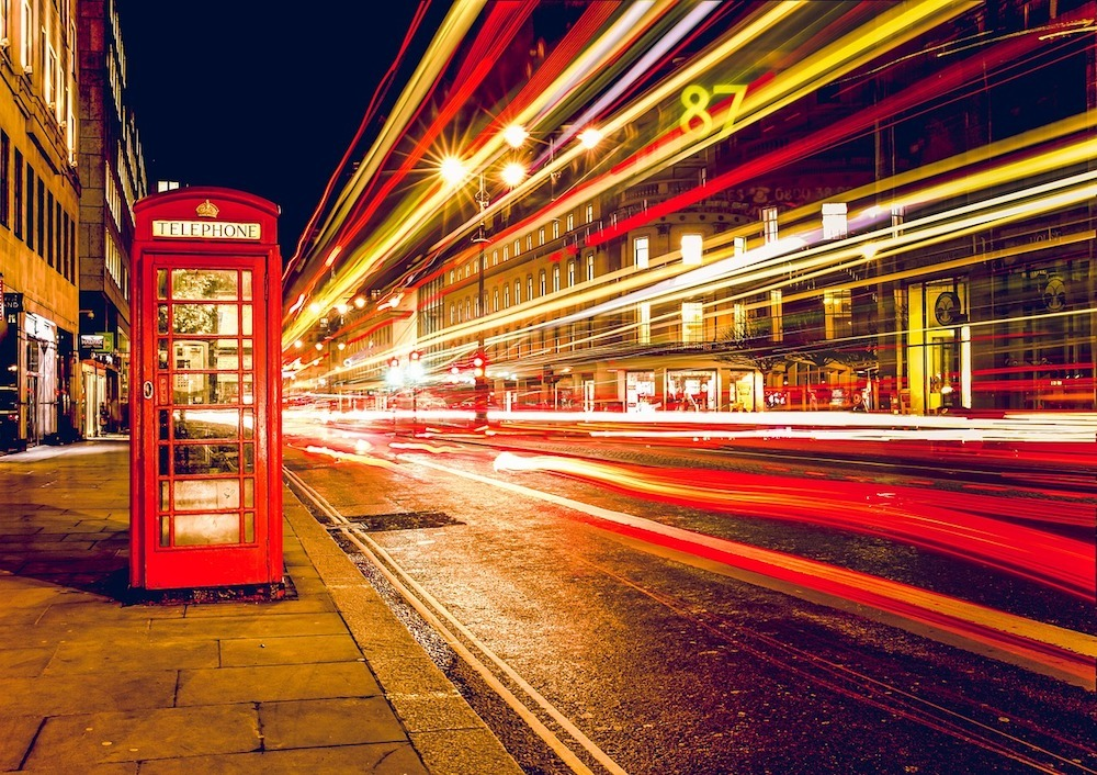 England Phone Box at night