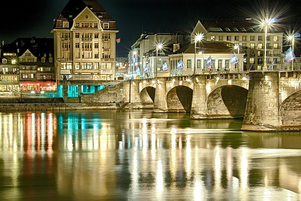 View of Basel at night