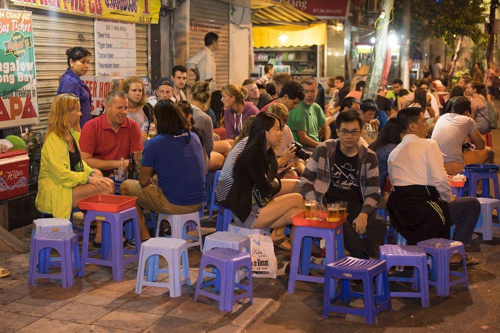 Drinking on the Street in Hanoi