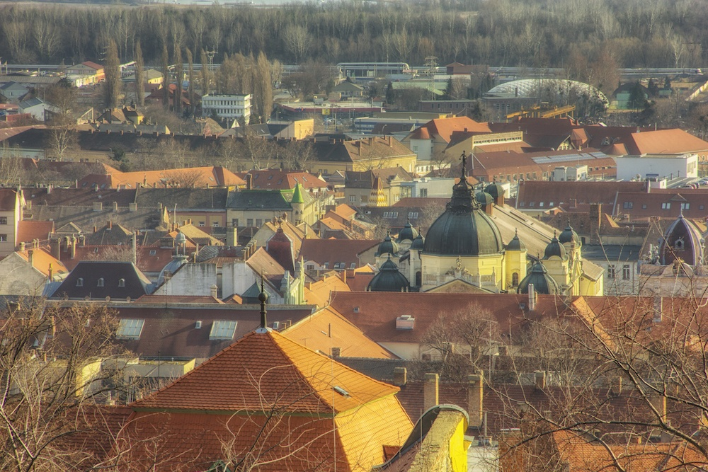 View from above the city Pécs Hungary Pictures