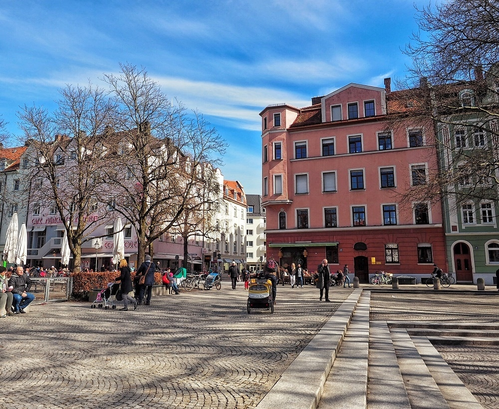 Square in the Schwabing neighborhood in Munich - Where to stay in Munich guide