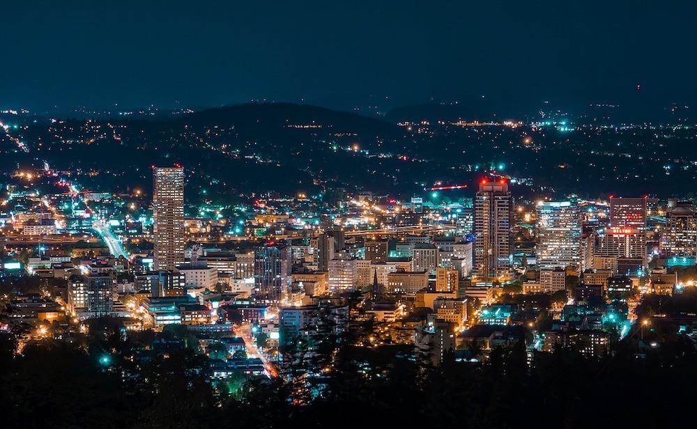 Portland Oregon USA at night