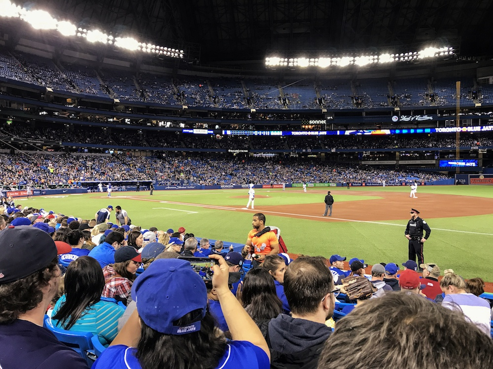Attending a baseball game in Toronto