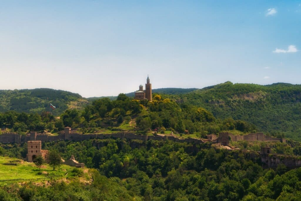 View of Veliko Tarnovo Fort from afar while visiting on a Danube river cruise