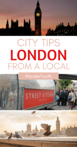 London city tips from a local Pinterest pin